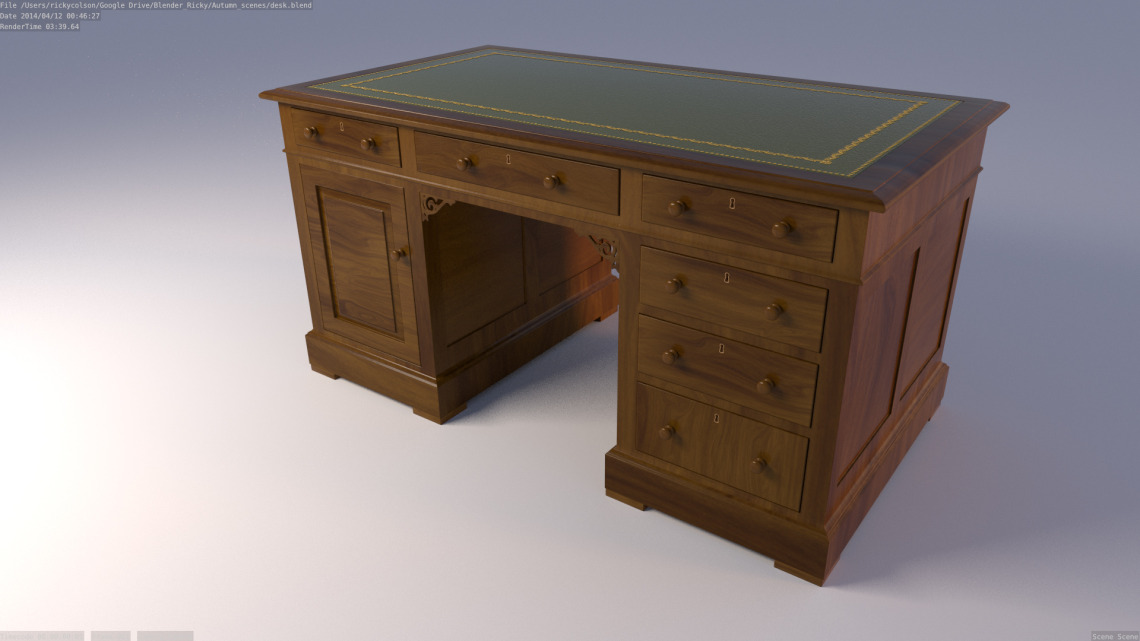 3d model of an american style desk