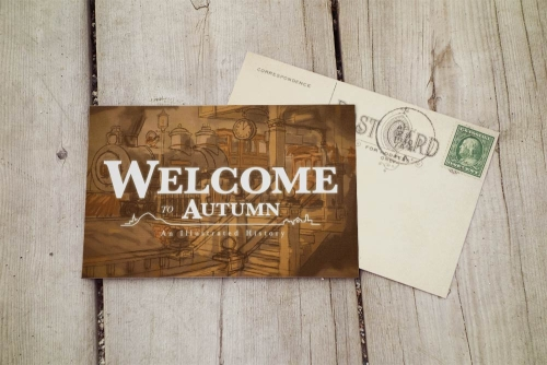 Welcome to Autumn vintage postcard