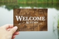 Welcome to Autumn vintage postcard front