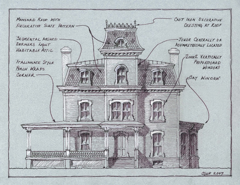 architectural drawing of Second Empire house