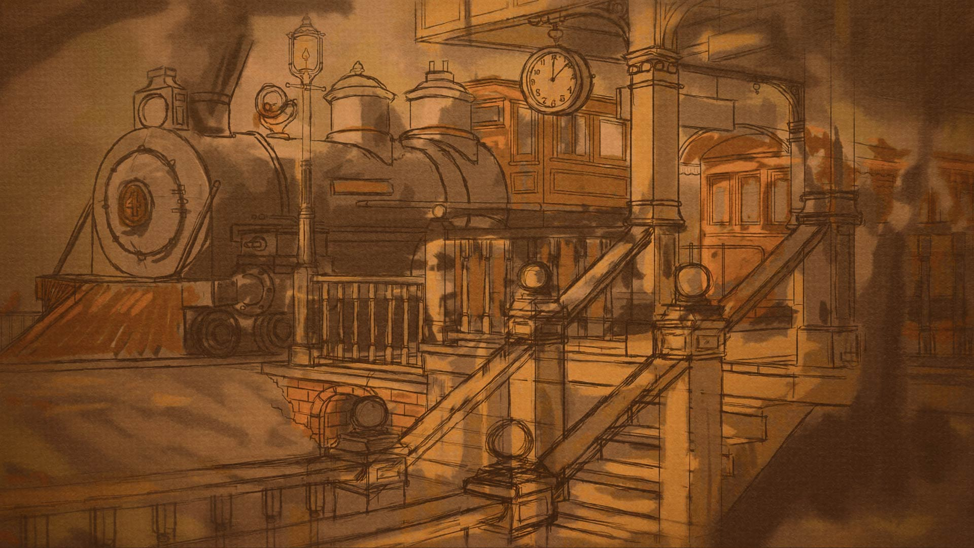 sepia train station digital drawing