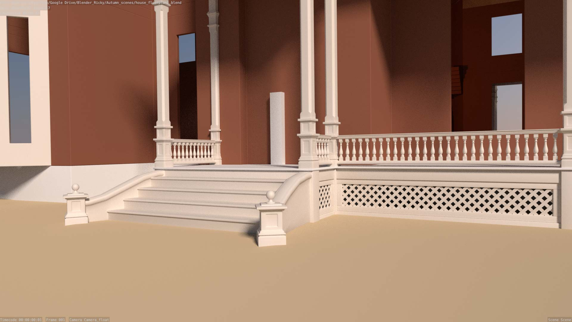 model of mansion front porch