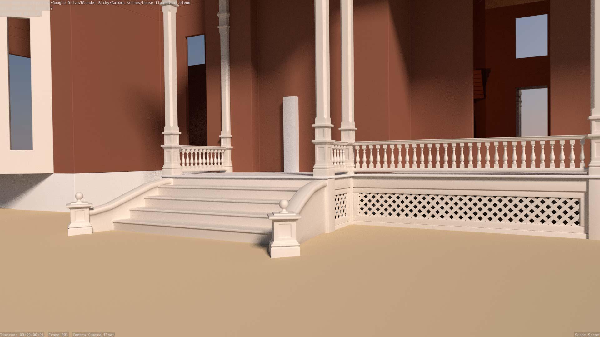 model of mansion front porch