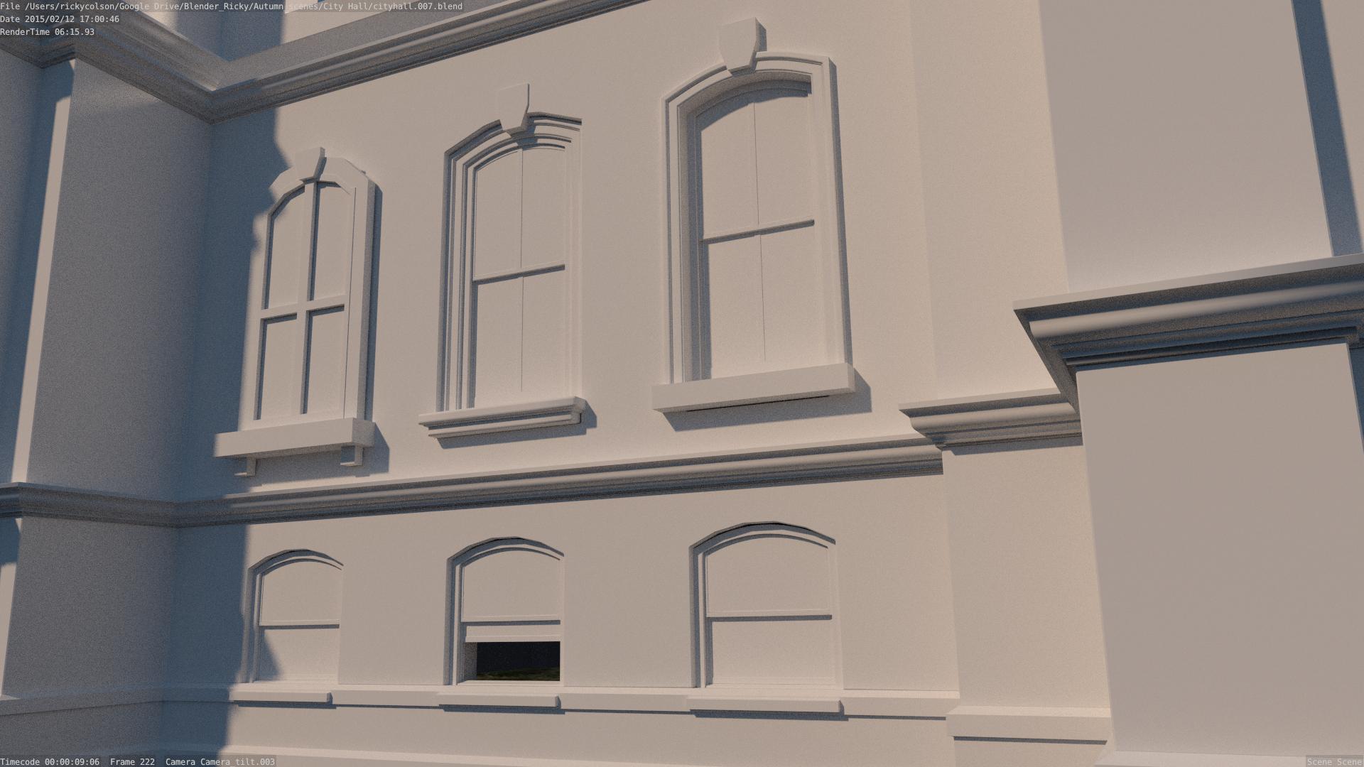 City Hall facade clay render