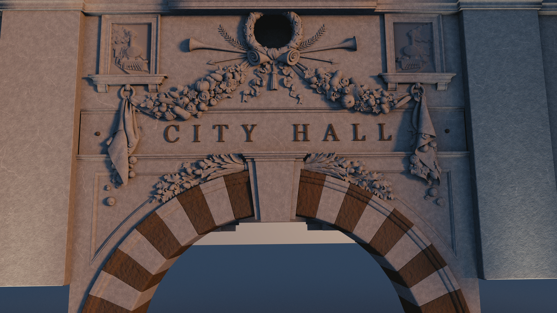 City Hall archway render work in progress