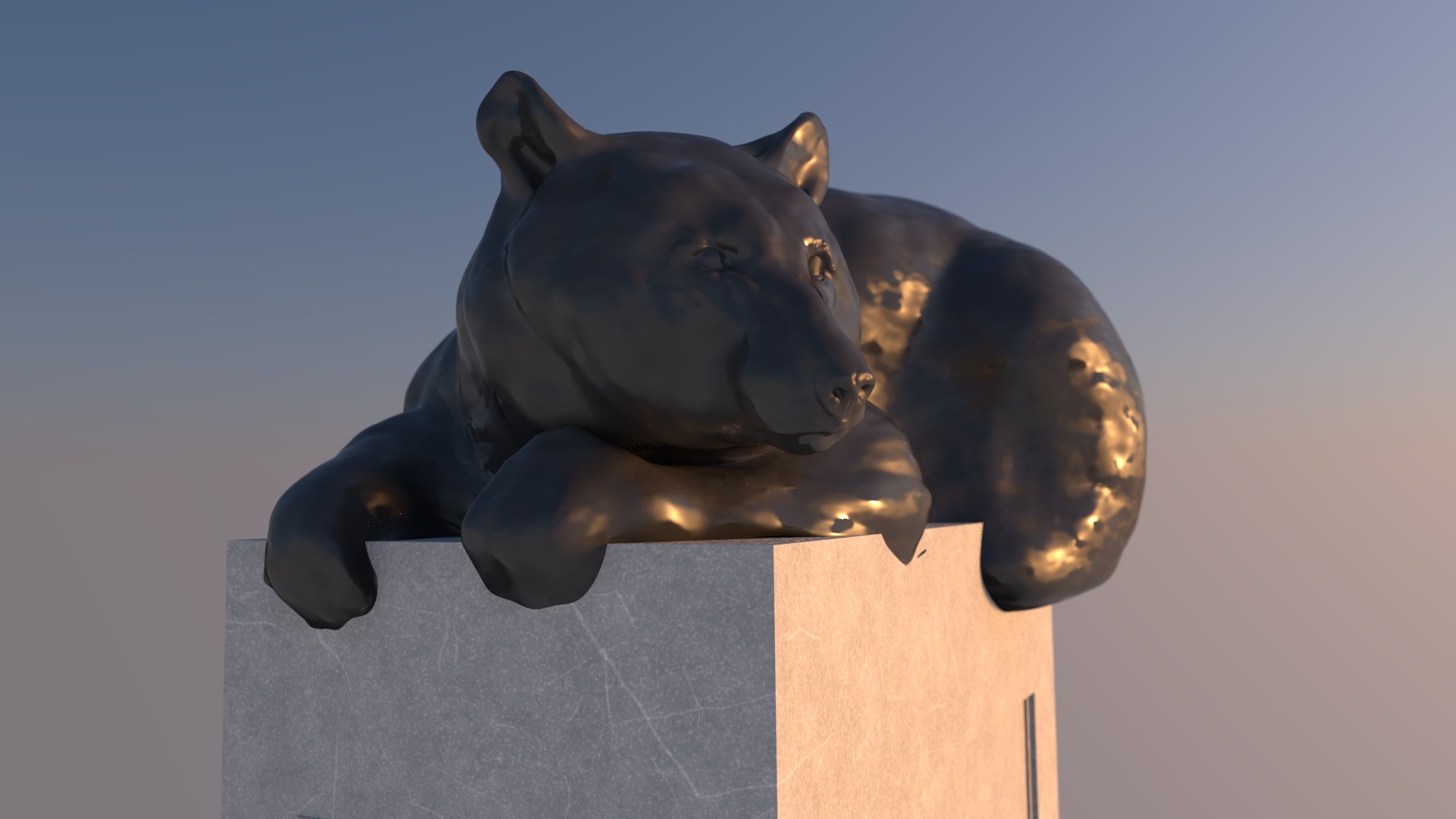 black bear bronze statue