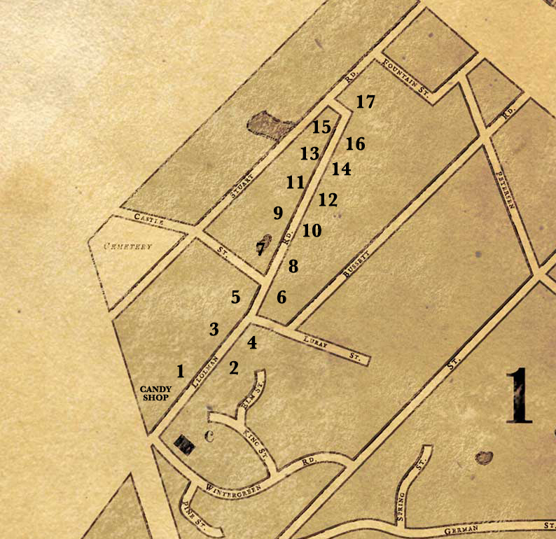 street numbered map for Candy Lane