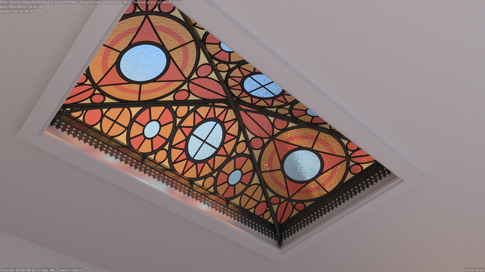 geometric stained glass ceiling