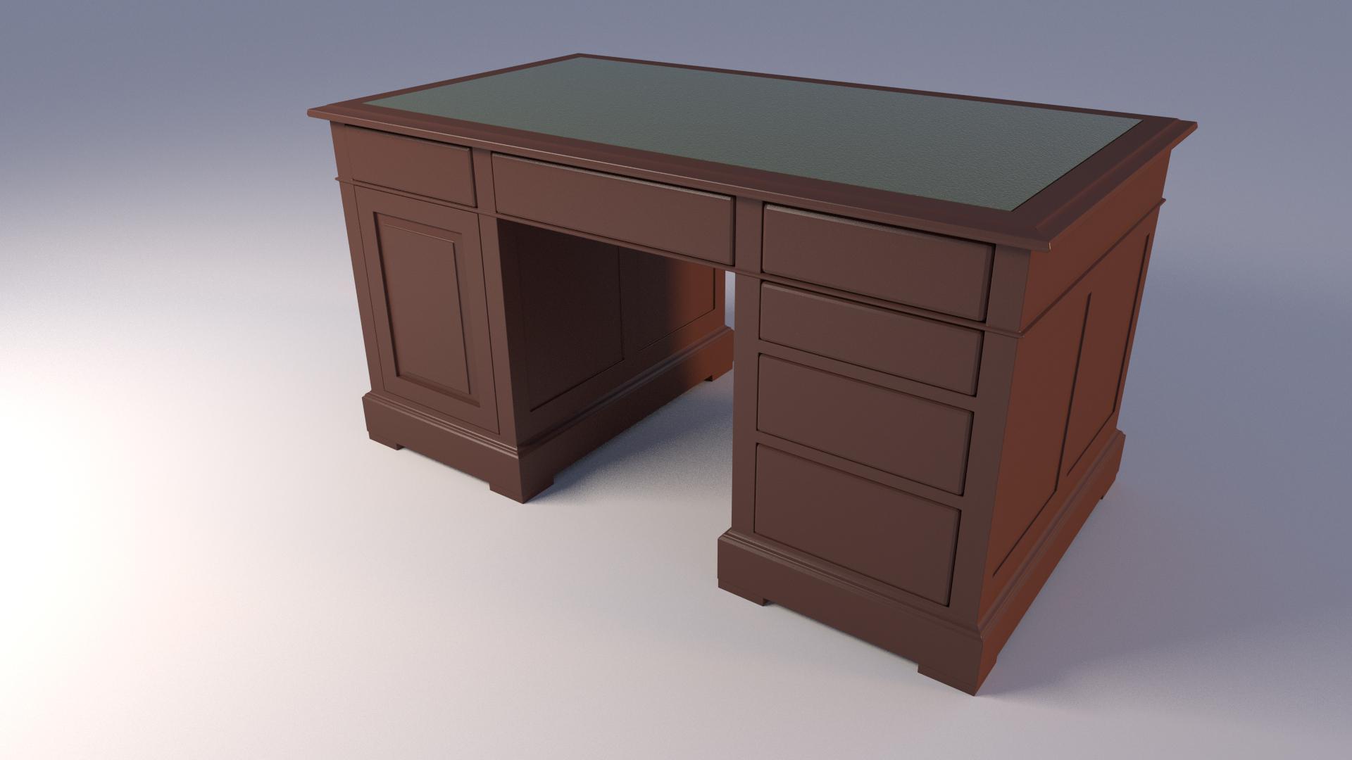 3d model of an american style desk