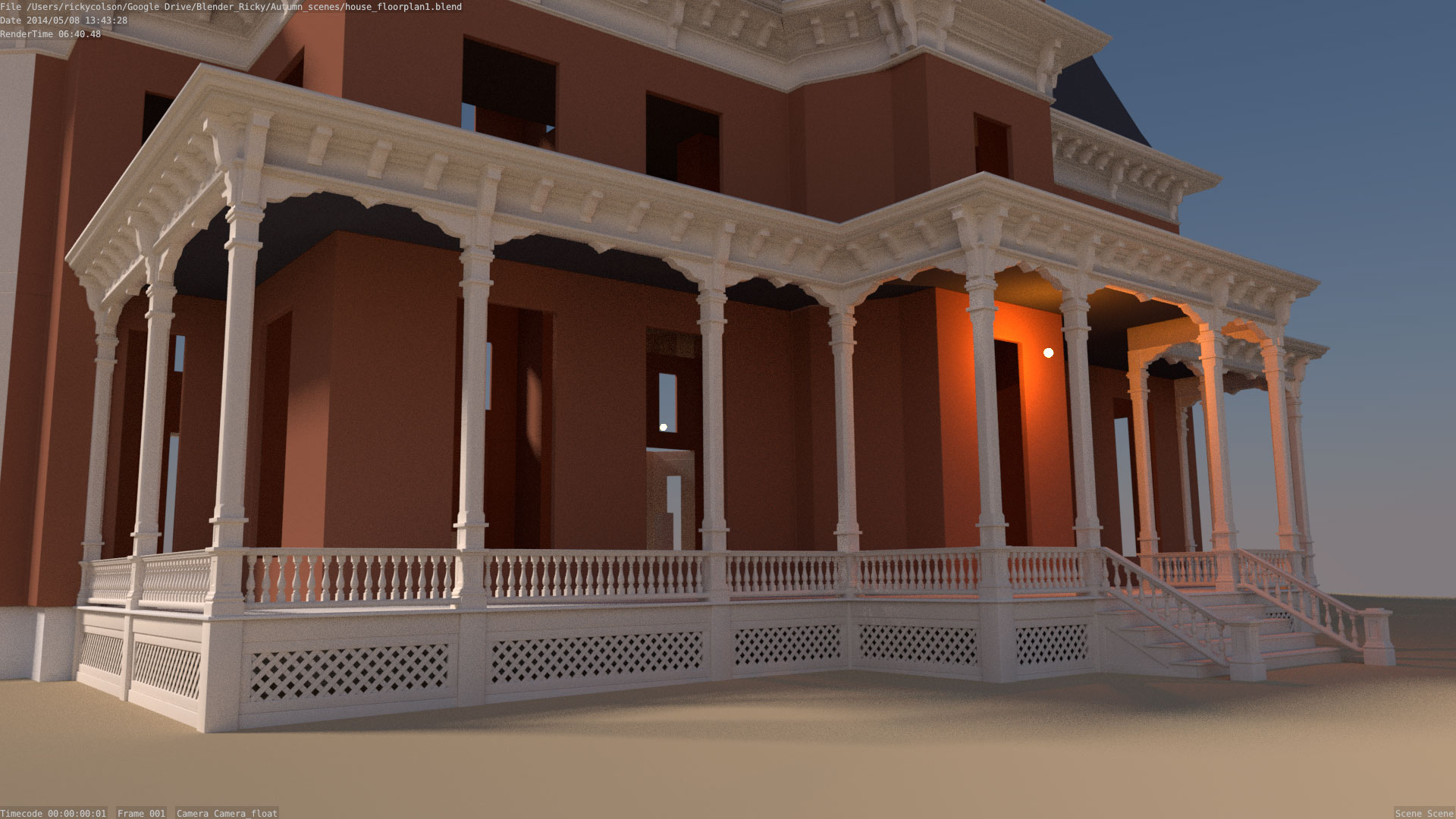 3d model of porch and house