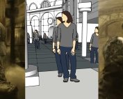 digital drawing of two people kissing in train station