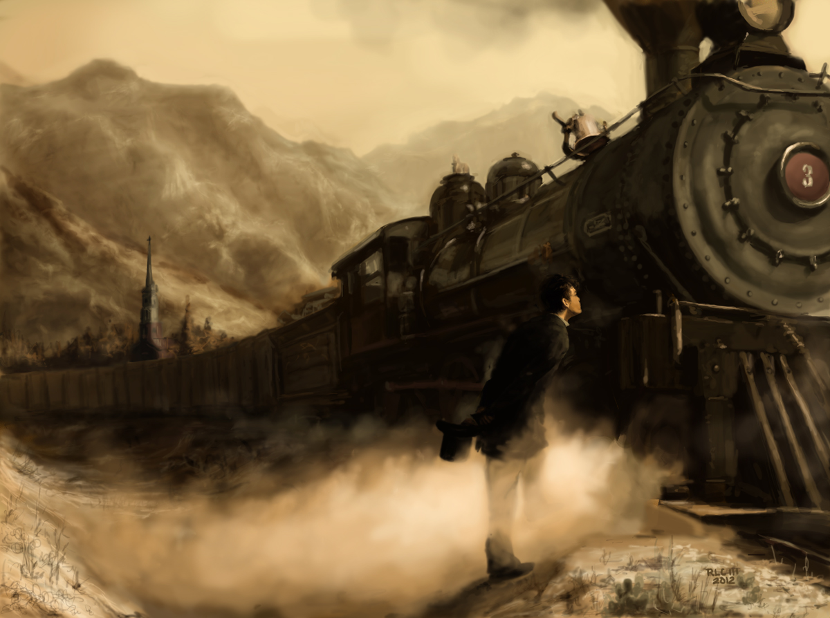 man waiting for steam train drawing
