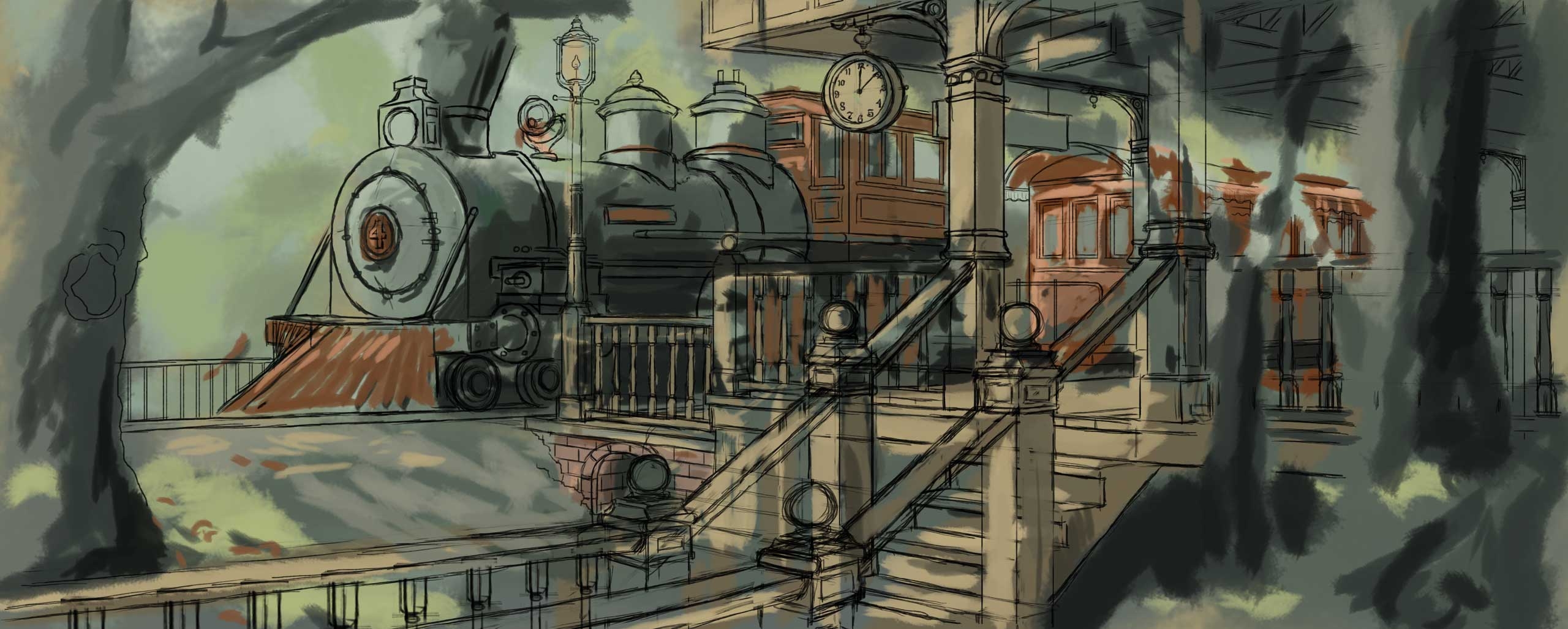 train depot digital drawing