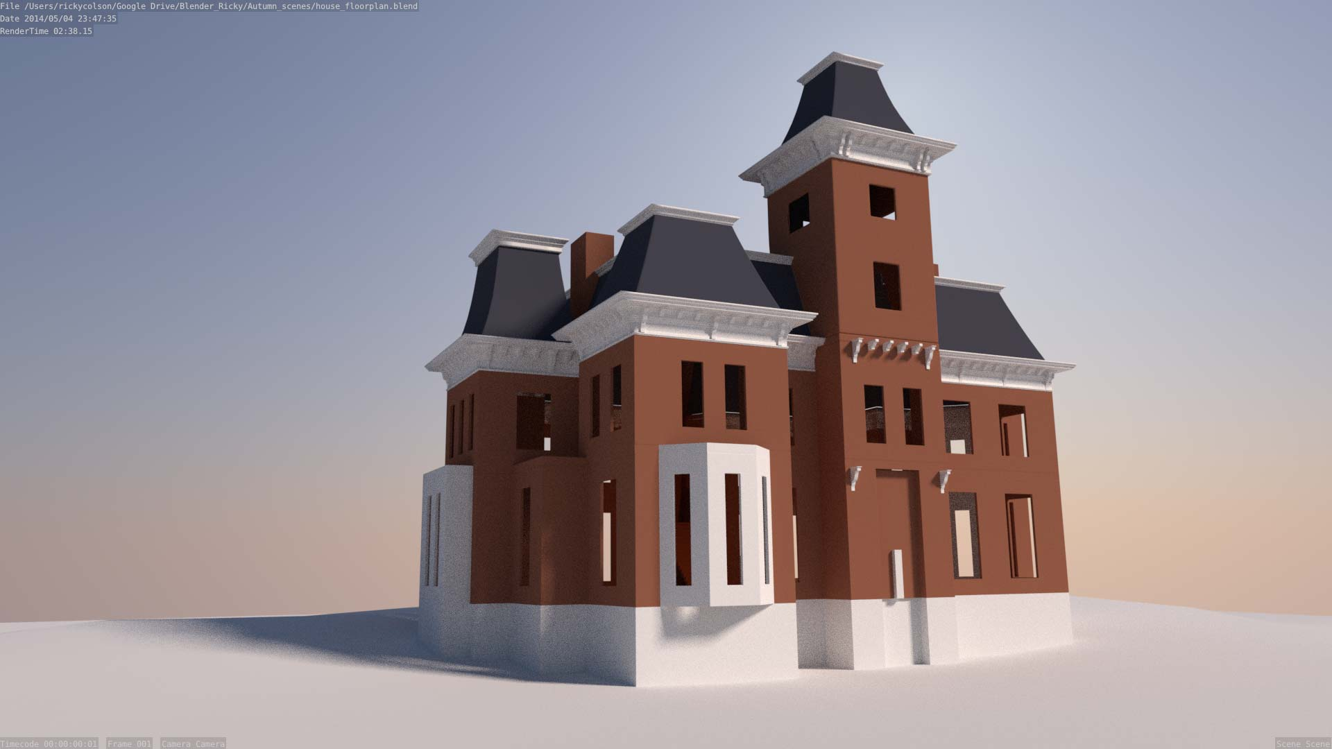 3d model of Second Empire style mansion