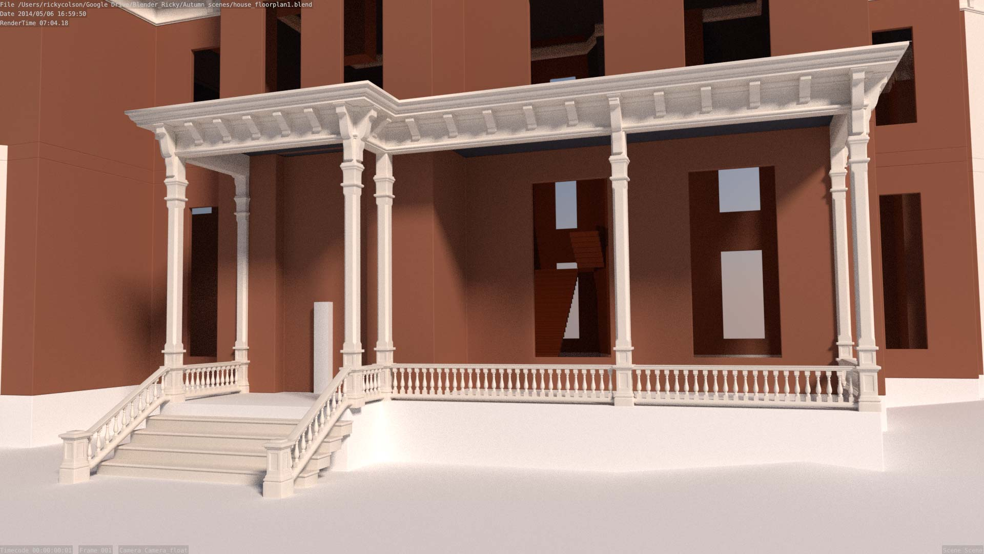 front porch of 3d house model
