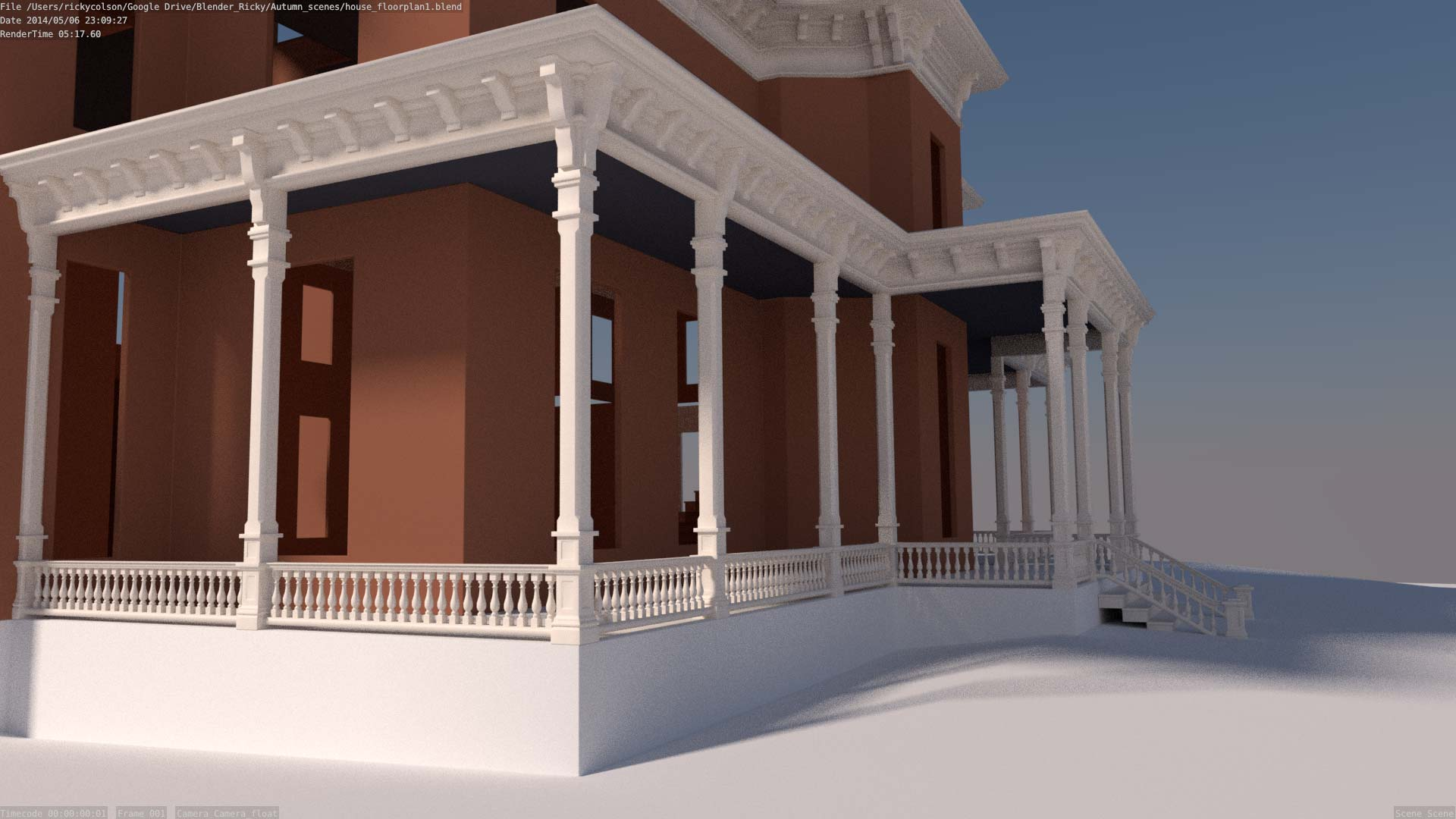 back porch of 3d house model